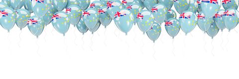 Balloons frame with flag of tuvalu Stock Images