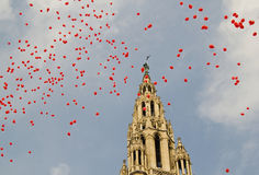 Balloons in front of the town hall in Vienna Royalty Free Stock Photography