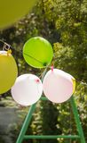 Balloons for games in a childhood garden party stock images