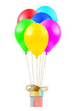 Balloons and gift Royalty Free Stock Images
