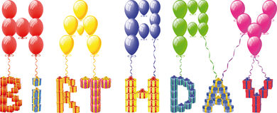 Balloons  with gift box Royalty Free Stock Images