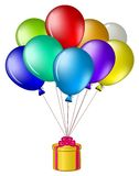 Balloons with a gift box Royalty Free Stock Photography
