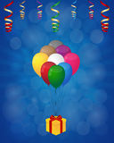 Balloons and gift box. On rays background Stock Image