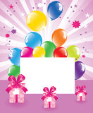 Balloons and gift boxes. Vector festive balloons and gift boxes Royalty Free Stock Images