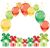 Balloons and gift boxes. Colorful festive balloons and gift boxes, vector Stock Image