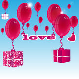 Balloons and gift boxes Stock Photography