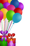 Balloons with Gift Wrapped Presents Royalty Free Stock Photos