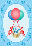 Balloons with a gift. Balloons with yoer flowers in a basket on a blue background with a pattern Stock Photos