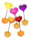 Balloons with gifts Stock Photos