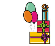Balloons and gifts Royalty Free Stock Images