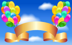 Balloons and golden ribbon Royalty Free Stock Image
