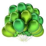 Balloons green beautiful. party, birthday, carnival decoration. Helium balloon bunch glossy. holiday, anniversary, celebration greeting card design element. 3d Royalty Free Stock Photo