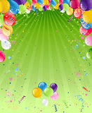 Balloons on green card Royalty Free Stock Images