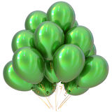 Balloons green happy birthday party decoration glossy. Holiday anniversary celebrate new years eve christmas carnival greeting card design element. 3D royalty free illustration