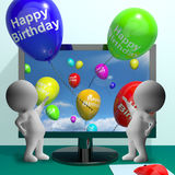 Balloons Greeting From Computer Celebrates Happy Birthday Royalty Free Stock Image