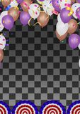 Balloons group isolated vector frame border graphic design. Birthday party decoration. Marvelous helium flying objects group. Design stock illustration
