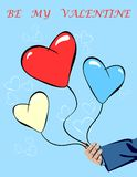 Balloons and Hand for Valentine`s Day. Creative illustration with men`s hand and hearts-balloons on a blue background. Hand-drawn designe for Valentine`s Day Royalty Free Stock Photos