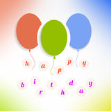 Balloons with happy birthday on background. Vector Royalty Free Stock Photo