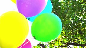 Balloons. Happy birthday colorful balloons on the background of the sky and foliage slow motion. stock video footage