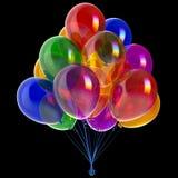 Balloons happy birthday party decoration festive colorful on black. Balloons happy birthday party decoration festive colorful translucent glossy. Anniversary Royalty Free Stock Photography