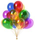 Balloons happy birthday party decoration festive colorful glossy. Balloons happy birthday party decoration festive colorful translucent glossy. Anniversary Stock Photo