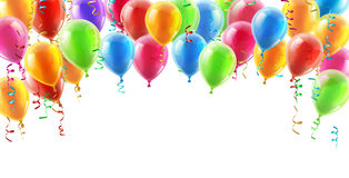 Balloons header background. Design element of birthday or party balloons stock illustration