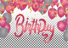 Balloons header background design element of Happy birthday vect. Or Celebration party print design Royalty Free Illustration