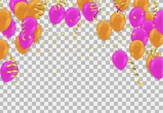 Balloons header background design element of Happy Luxury birthd. Ay Royalty Free Illustration