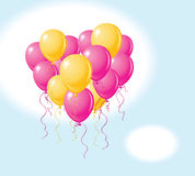 Balloons heart. Vector balloons heart in the sky Royalty Free Stock Images