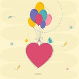 Balloons with heart for Happy Valentines Day celebration. Royalty Free Stock Image