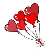 Balloons in heart shape.Valentine day. Balloons in heart shape. Cartoon flat Vector illustrations set Stock Illustration
