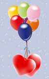 Balloons with hearts. Colorfull balloons with hearts on starry background. Vector illustration Royalty Free Stock Photography