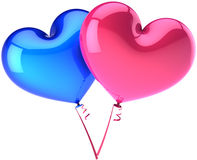 Balloons hearts blue and pink. Heart balloons couple colored blue and pink. Heterosexual Love abstract. Shiny romantic Valentines day decoration. This is a Stock Photography