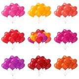 Balloons hearts bunches, set. Set of colorful flying heart shaped balloons bunches of various colors, element for holiday background isolated on white. Eps10 Royalty Free Stock Photography