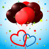 Balloons and hearts card Stock Photos