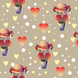 Balloons with hearts seamless repeatable pattern. Pattern ready for all sorts of printouts, such as decoupage, scrapbooking, wallpaper or fabric Stock Image