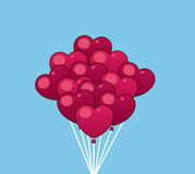 Balloons Hearts. Balloons shaped like hearts on strings stock illustration