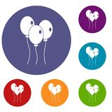 Balloons icons set. In flat circle red, blue and green color for web Royalty Free Stock Photography