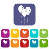 Balloons icons set flat Royalty Free Stock Image