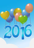 2016 balloons. Illustration of balloons with 2016 text Stock Photography