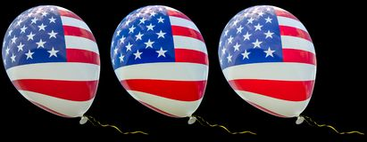 3 balloons with the image of the national flag of USA, with different intensity of color. 3D render illustration isolated on black vector illustration