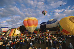 Balloons inflating at baloon festival. Balloons inflating at Albuquerque International Balloon Festival Royalty Free Stock Photography