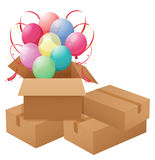 Balloons inside the box Stock Photography