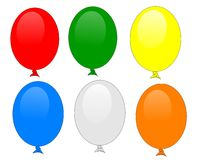 Balloons isolated set of 6 Stock Photo