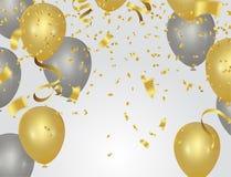 Balloons l'accumulazione Il fondo dell'estratto dell'illustrazione di festa con molti coriandoli minuscoli di caduta dell'oro col Immagine Stock Libera da Diritti