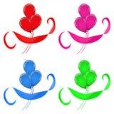Balloons l'insieme di colori della celebrazione quattro del nastro Fotografie Stock