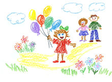 balloons la ragazza Immagini Stock Libere da Diritti