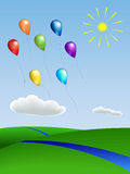 Balloons with the landscape Stock Photography