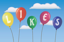 Balloons Likes. Social media - vector Royalty Free Stock Photography
