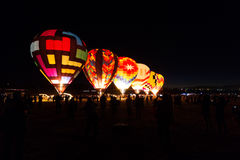 Balloons lit up in the dark Royalty Free Stock Photography